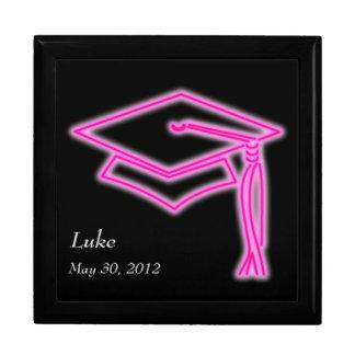 Neon Grad Cap Pink Keepsake Box