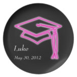 Neon Grad Cap Pink Party Plate