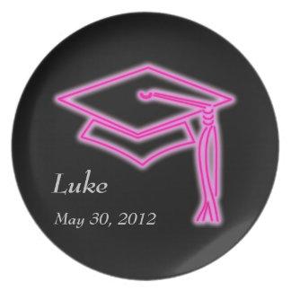Neon Grad Cap Pink Party Plate