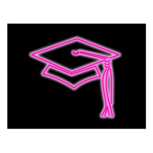 Neon Grad Cap Pink Postcard