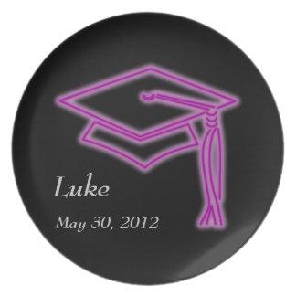 Neon Grad Cap Purple Party Plate