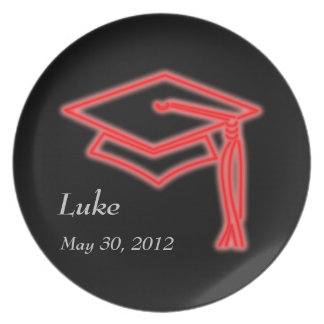 Neon Grad Cap Red Party Plate