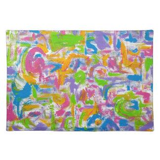 Neon Graffiti-Abstract Art Brushstrokes Placemat