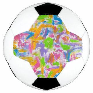Neon Graffiti-Abstract Art Brushstrokes Soccer Ball