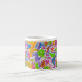 Neon Graffiti -Hand Painted Abstract Art Espresso Cup