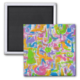 Neon Graffiti-Hand Painted Abstract Art Magnet