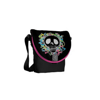 Neon Graffiti Skull Messenger Bag