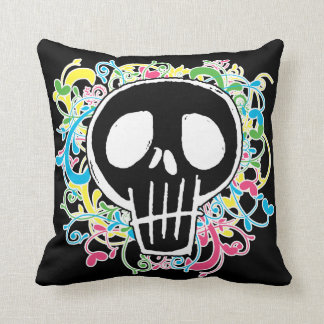 Neon Graffiti Skull Throw Pillow