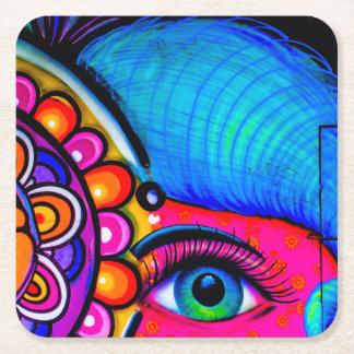 Neon Grafitti Square Paper Coaster