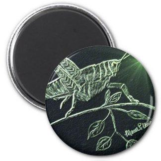 Neon Grasshopper 2 Inch Round Magnet