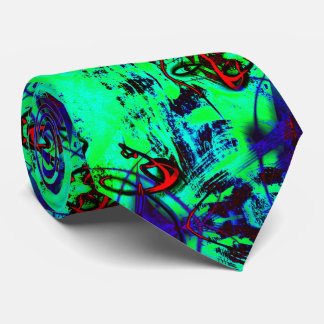 Neon Green Abstract Neck Tie
