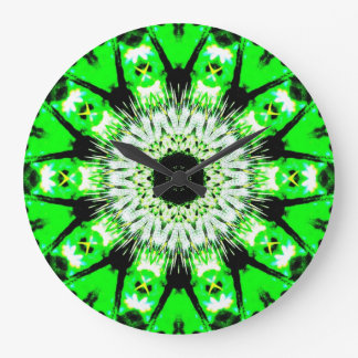 Neon Green Abstract Thistle Pattern Clock by KLM