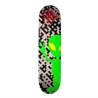 Neon Green Alien Pixel Design Skateboard