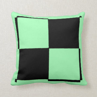Neon Green and Black Checkered Pillow by RT STONE