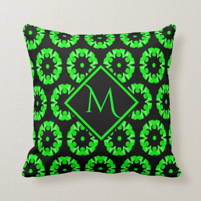 Neon Green and Black Flower Pattern Monogram