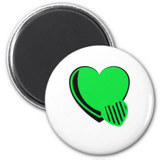 Neon Green and Black Hearts 2 Inch Round Magnet