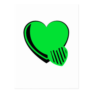 Neon Green and Black Hearts Postcard