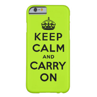 Neon green and black keep calm and carry on. barely there iPhone 6 case