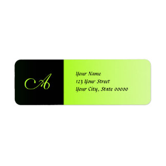 Neon Green and Black Monogram Address Labels