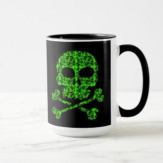 Neon Green and Black Skulls for Halloween Mug