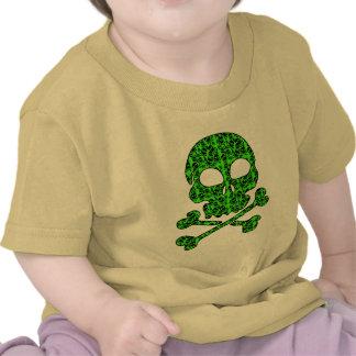 Neon Green and Black Skulls for Halloween Shirts