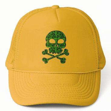 Halloween Themed Neon Green and Black Skulls for Halloween Trucker Hat