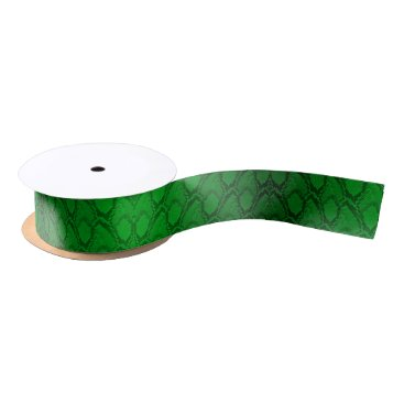 Halloween Themed Neon Green and Black Snake Skin Reptile Scales Satin Ribbon