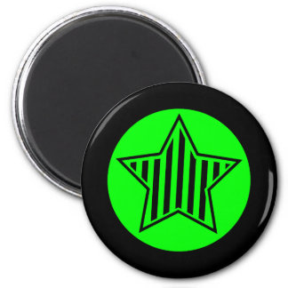Neon Green and Black Star Round Magnet