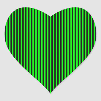 Neon Green And Black Stripes Heart Sticker