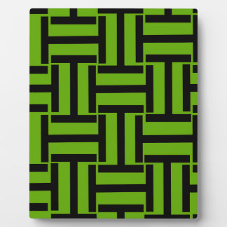 Neon Green and Black T Weave Plaque