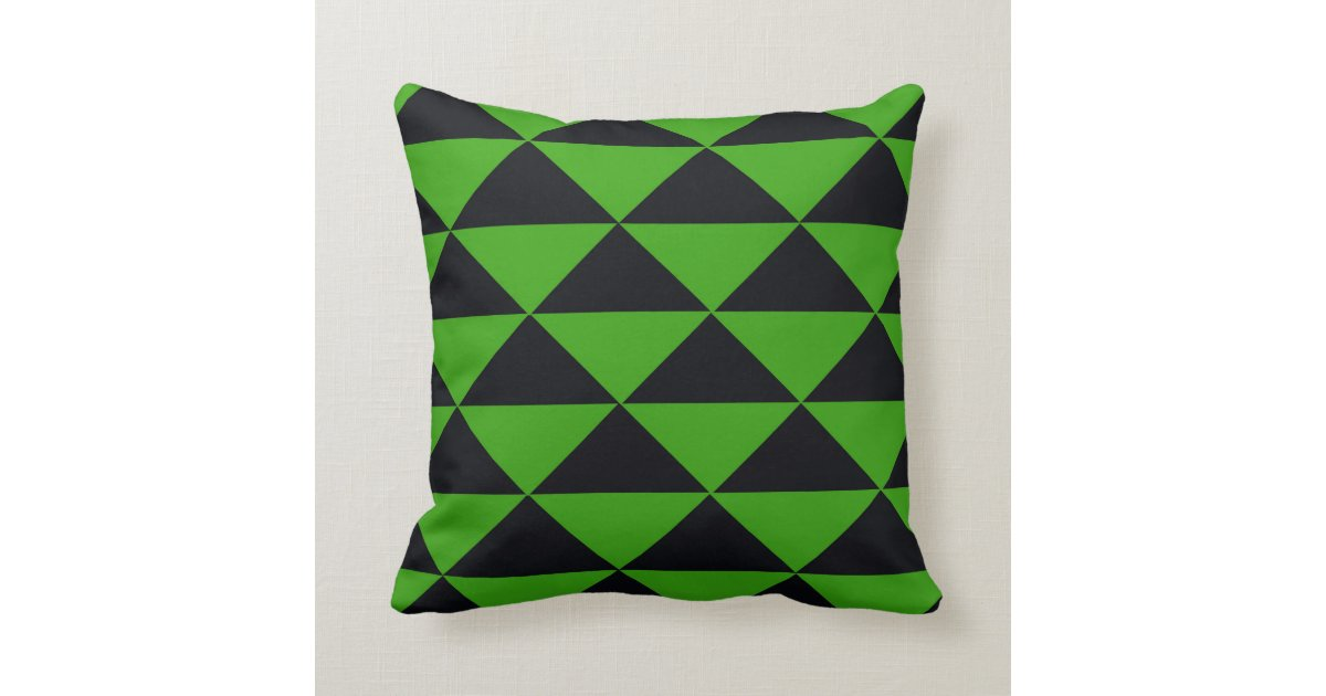 Neon Green and Black Triangles Throw Pillow Zazzle
