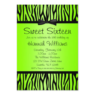 Neon Green and Black Zebra Bow Sweet 16 Birthday Card