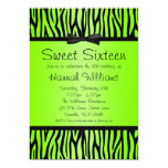 "Neon Green and Black Zebra Bow Sweet 16 Birthday 5"" X 7"" Invitation Card"
