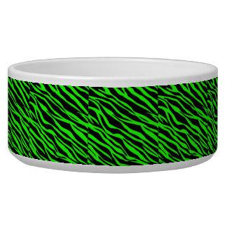 Neon Green and Black Zebra Striped Bowl