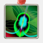 Neon Green and Blue Firefly Fractal Christmas Tree Ornaments