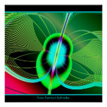 Neon Green and Blue Firefly Fractal Posters