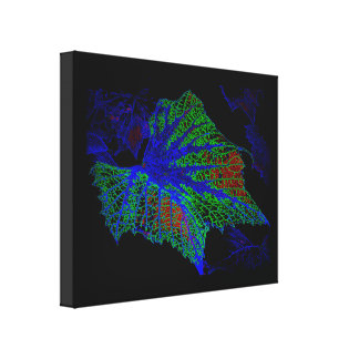 Neon Green and Blue Grape Leaves Canvas Print