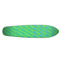 neon green and blue stripes skateboard deck