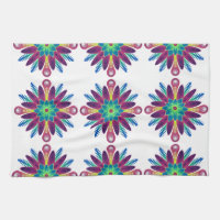 Neon Green and Blue Tiled Designed Hand and Hand Towel
