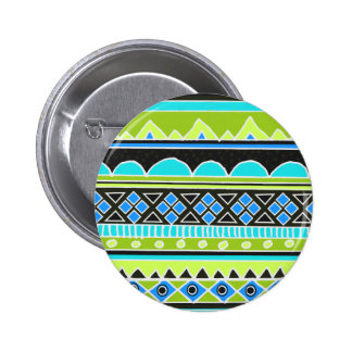 Neon Green and blue tribal pattern Buttons