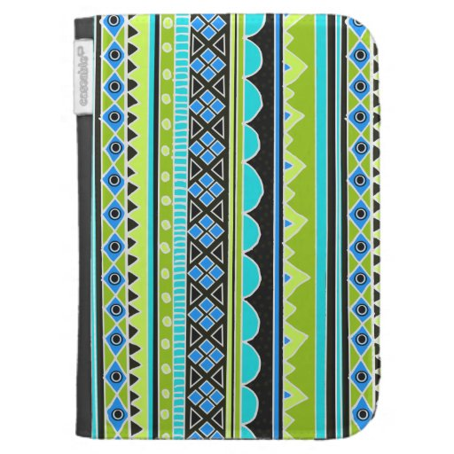 Neon Green and blue tribal pattern Kindle Keyboard Covers