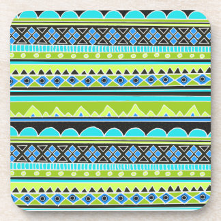 Neon Green and blue tribal pattern Coasters