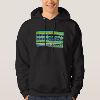 Neon Green and blue tribal pattern Hooded Pullover