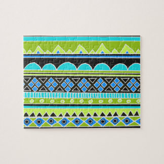 Neon Green and blue tribal pattern Jigsaw Puzzle