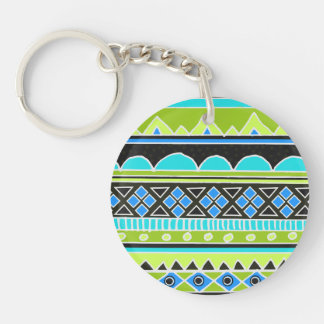 Neon Green and blue tribal pattern Keychain