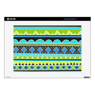 Neon Green and blue tribal pattern Laptop Skins