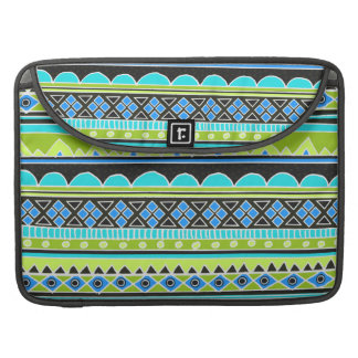 Neon Green and blue tribal pattern MacBook Pro Sleeve