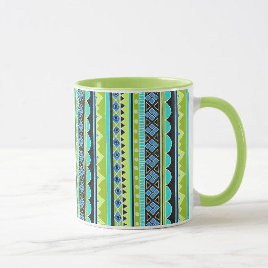 Neon Green and blue tribal pattern Mug