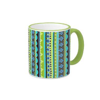 Neon Green and blue tribal pattern Ringer Coffee Mug