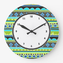 Neon Green and blue tribal pattern numbered clock